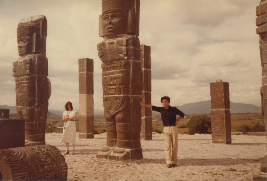 Madeline and Arakawa with Mesoamerican statues in Tula, Mexico